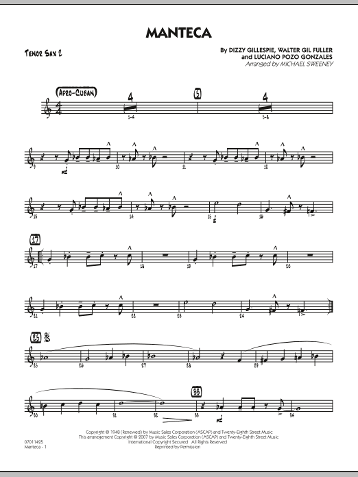 Manteca - Tenor Sax 2 Sheet Music