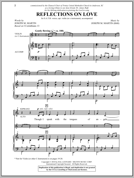 Reflections On Love Sheet Music