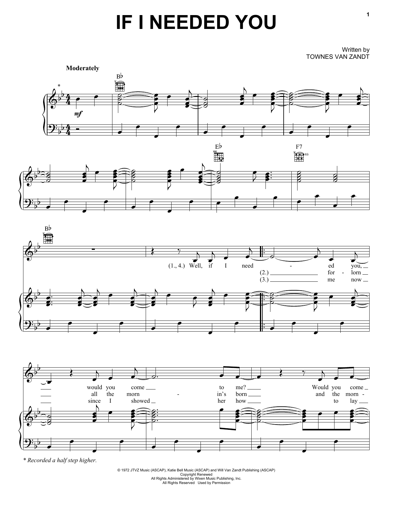 If I Needed You Piano Sheet Music By Townes Van Zandt Piano Voice