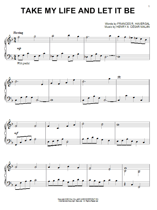 Take My Life And Let It Be Sheet Music