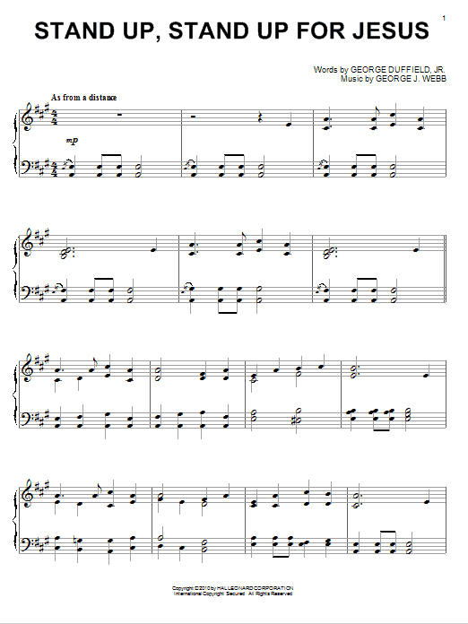 Stand Up Stand Up For Jesus Sheet Music Direct