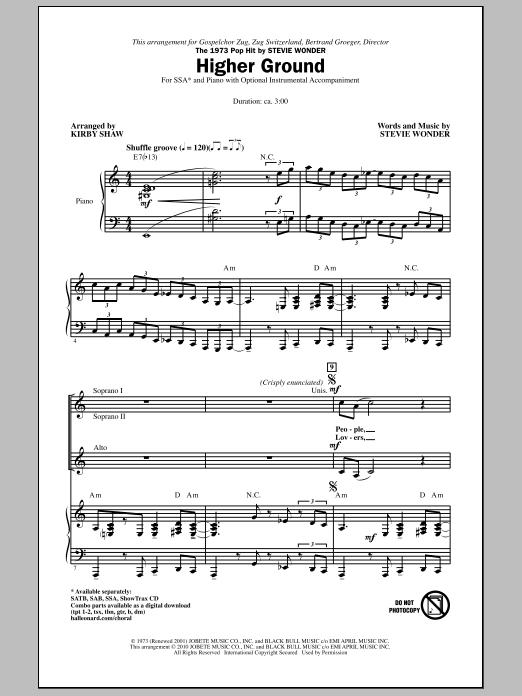 Higher Ground Sheet Music
