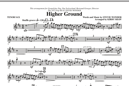 Higher Ground - Bb Tenor Saxophone (Choir Instrumental Pak)