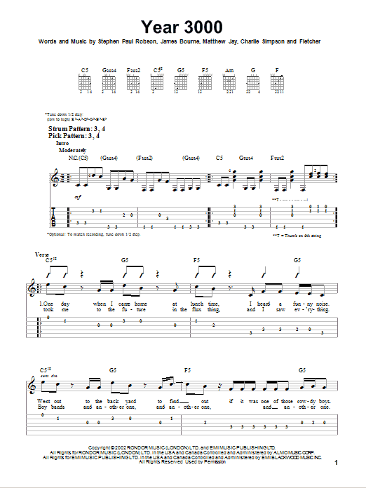 Year 3000 (Easy Guitar Tab)