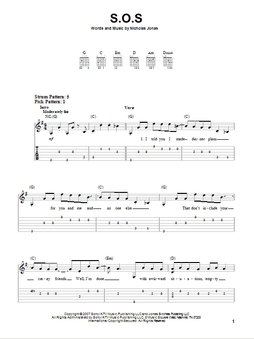 Tablature guitare S.O.S. de Jonas Brothers - Tablature guitare facile