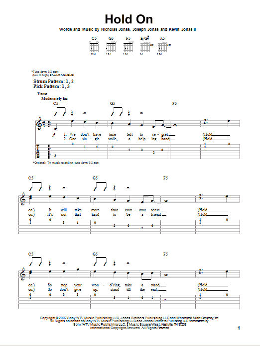 Tablature guitare Hold On de Jonas Brothers - Tablature guitare facile