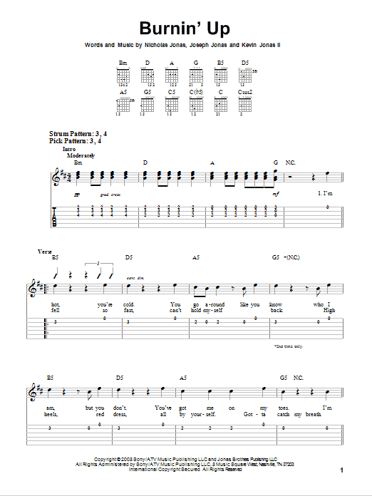 Burnin\' Up by Jonas Brothers - Easy Guitar Tab - Guitar Instructor