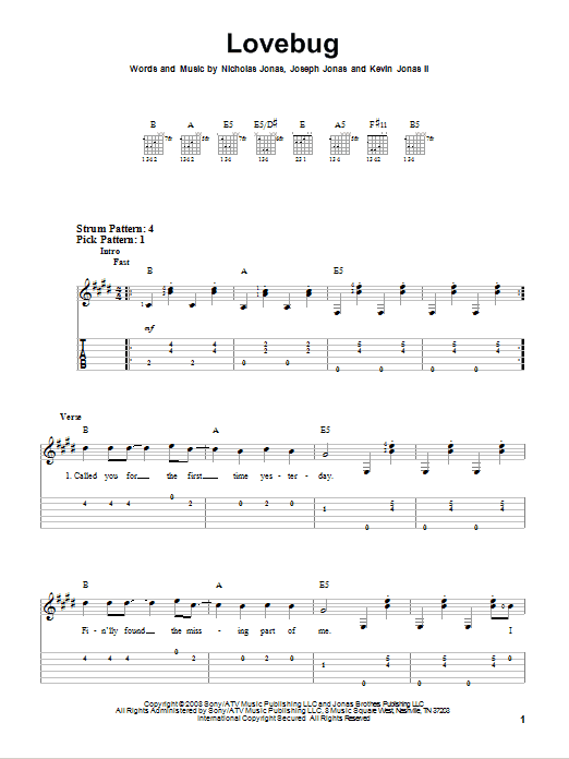 Lovebug by Jonas Brothers - Easy Guitar Tab - Guitar Instructor