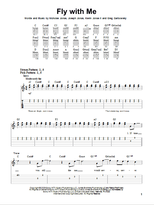 Fly With Me sheet music by Jonas Brothers (Easy Guitar Tab – 74719)