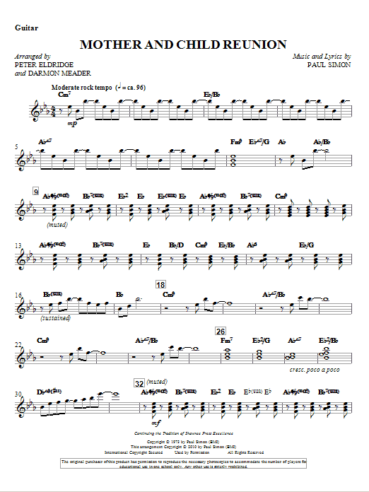 Mother And Child Reunion - Guitar Sheet Music