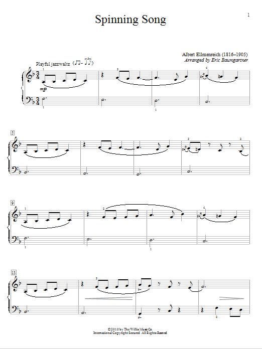Partition piano Spinning Song de Albert Ellmenreich - Autre