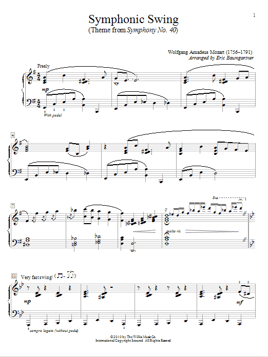 Partition piano Symphonic Swing (Theme From Symphony No. 40) de Wolfgang Amadeus Mozart - Autre