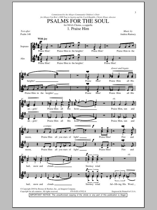 Psalms For The Soul Sheet Music