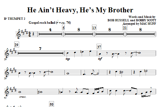 He Ain't Heavy, He's My Brother - Bb Trumpet 2 Sheet Music