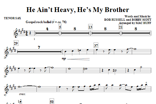 He Ain't Heavy, He's My Brother - Bb Tenor Saxophone Sheet Music