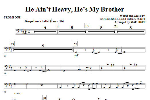 He Ain't Heavy, He's My Brother - Trombone (Choir Instrumental Pak)
