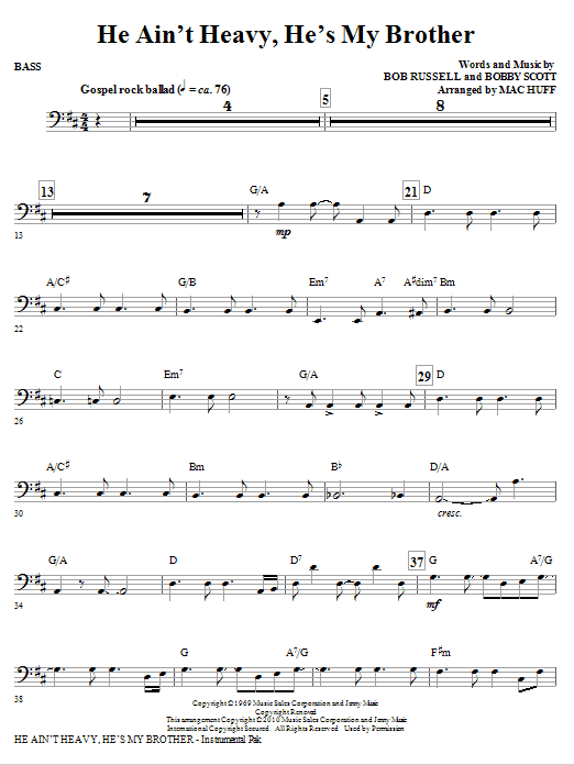 He Ain't Heavy, He's My Brother - Bass Sheet Music