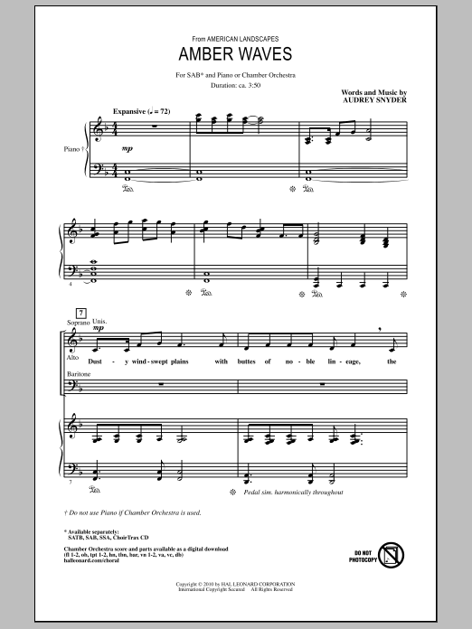 Amber Waves Sheet Music