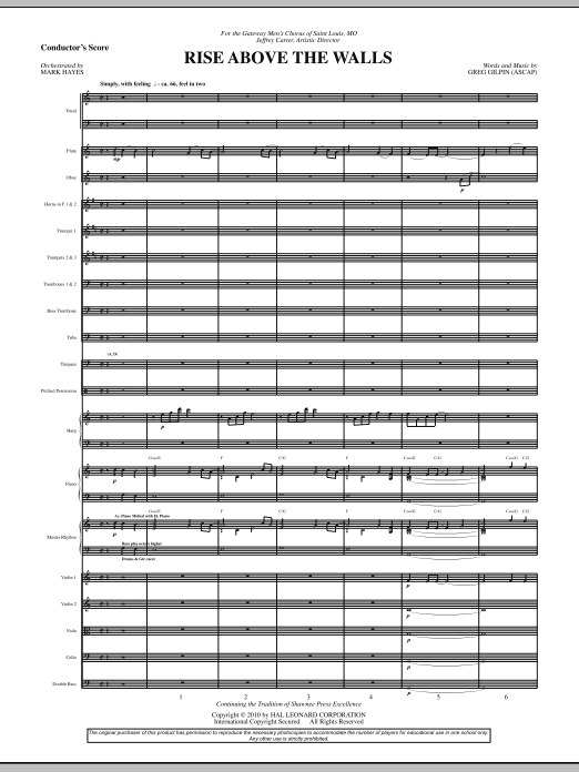Rise Above The Walls (COMPLETE) sheet music for orchestra/band (Orchestra) by Greg Gilpin and Mark Hayes. Score Image Preview.
