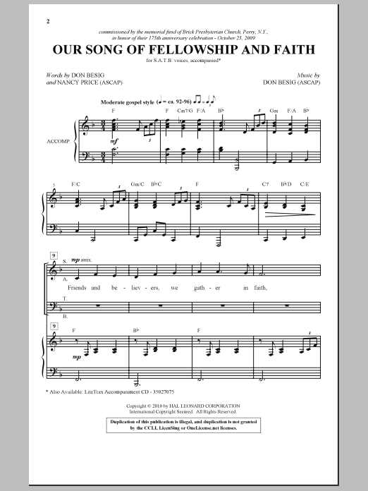 Our Song Of Fellowship And Faith Sheet Music