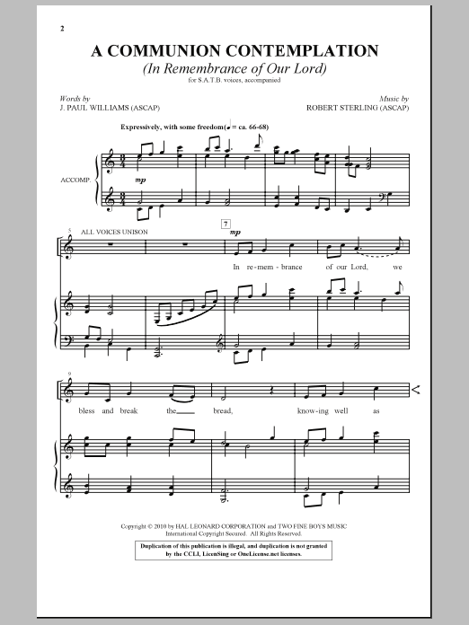 A Communion Contemplation (In Remembrance Of Our Lord) Sheet Music