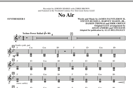 No Air (complete set of parts) sheet music for orchestra/band (Rhythm) by Alan Billingsley, James Fauntleroy, Chris Brown, Glee Cast, Jordin Sparks and Miscellaneous. Score Image Preview.