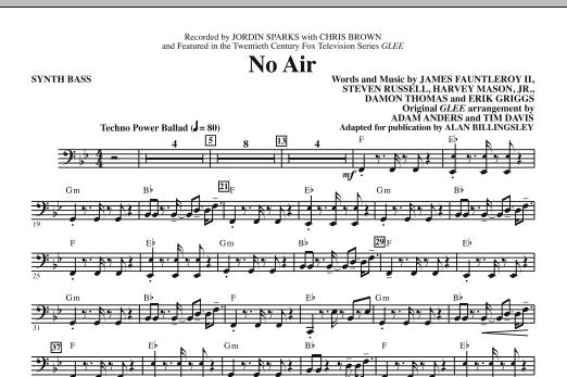 No Air (from Glee) (adapt. Alan Billingsley) - Synth. Bass (Choir Instrumental Pak)