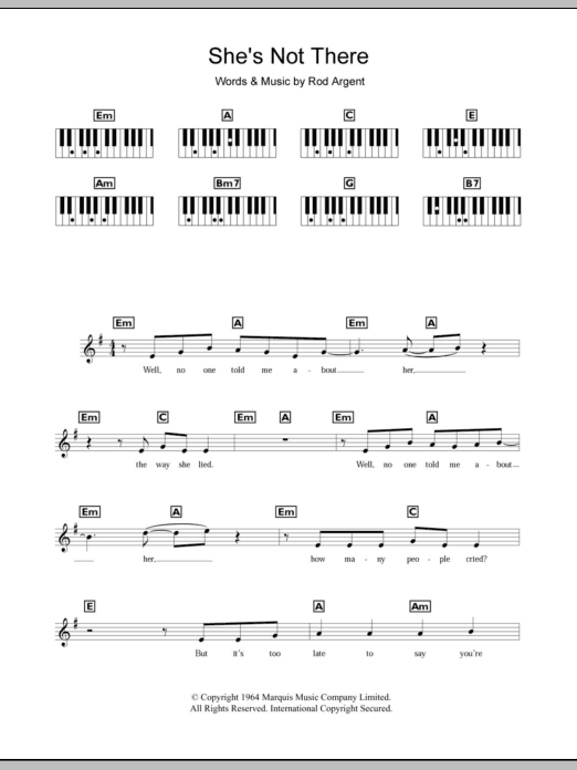 She's Not There Sheet Music