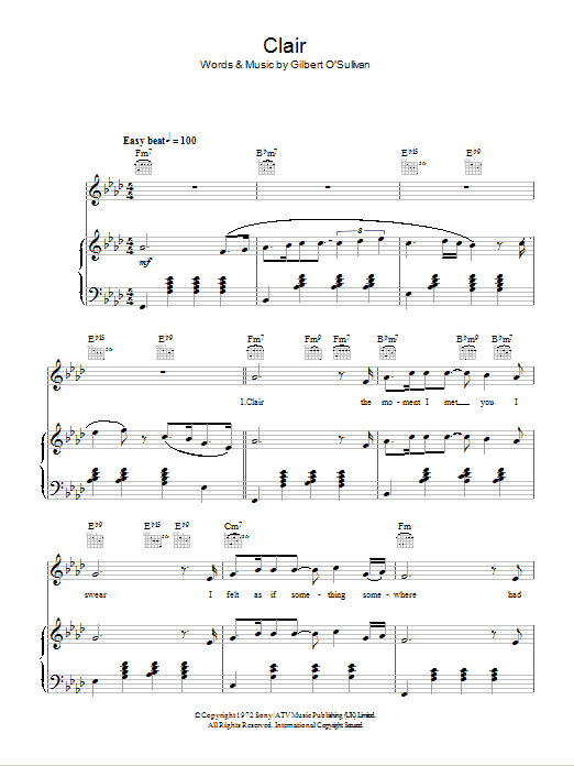 Clair Sheet Music