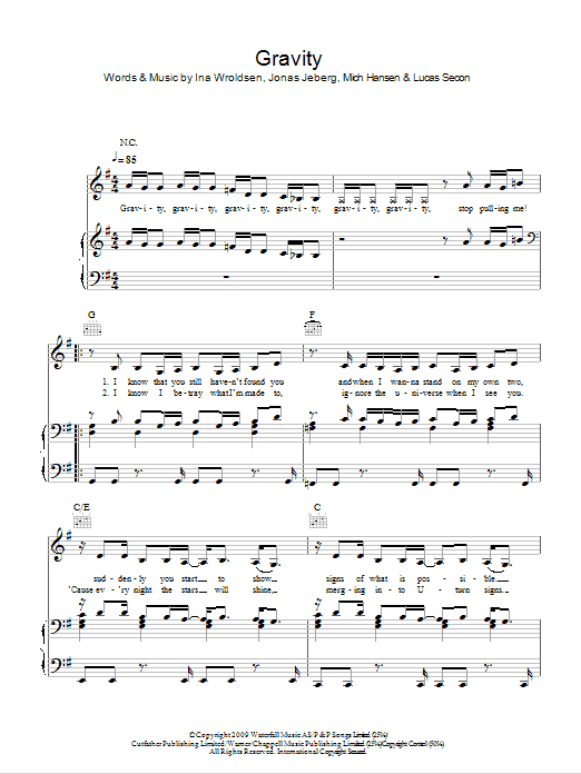 Gravity (Piano, Vocal & Guitar)