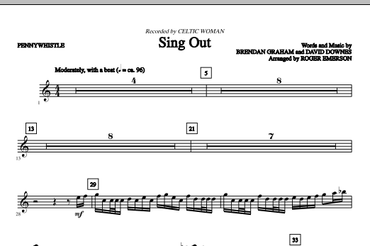 Sing Out (complete set of parts) sheet music for orchestra/band (chamber ensemble) by Roger Emerson, Brendan Graham, Celtic Woman and David Downes. Score Image Preview.