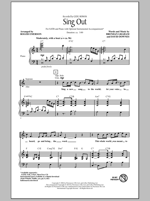 Sing Out Sheet Music