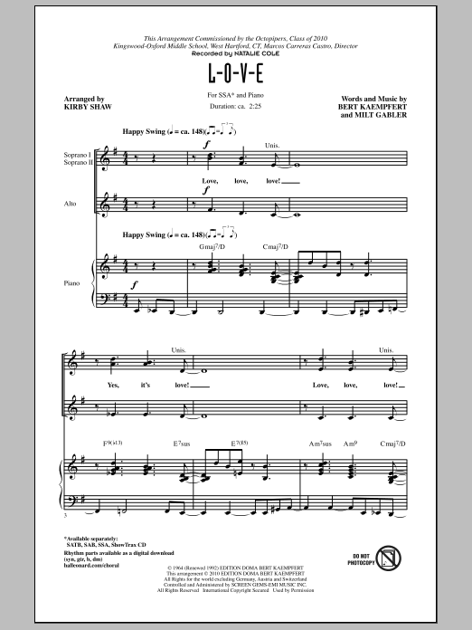 L-O-V-E (arr. Kirby Shaw) (SSA Choir)