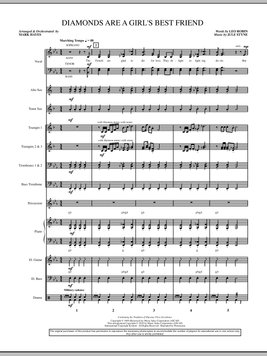 Diamonds Are A Girl's Best Friend (COMPLETE) sheet music for orchestra/band (chamber ensemble) by Jule Styne, Leo Robin and Mark Hayes. Score Image Preview.