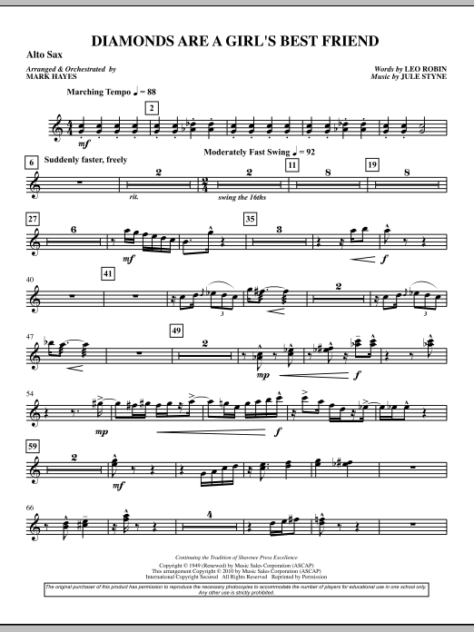 Diamonds Are A Girl's Best Friend - Alto Sax (Choir Instrumental Pak)