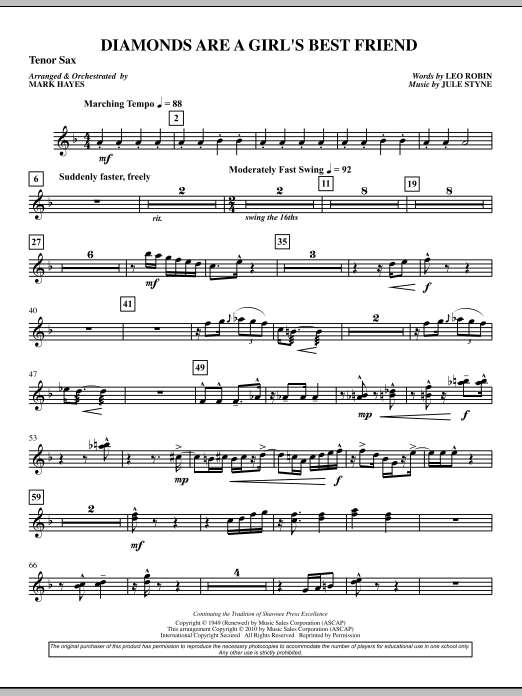 Diamonds Are A Girl's Best Friend - Tenor Sax (Choir Instrumental Pak)