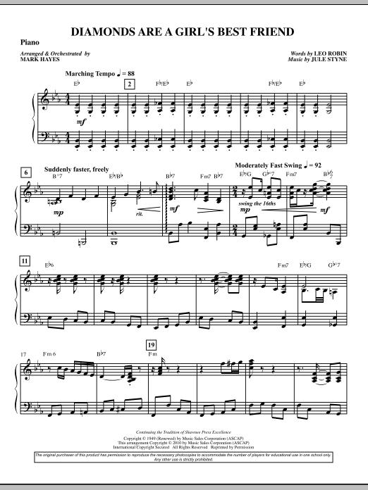 Diamonds Are A Girl's Best Friend - Piano or Harpsichord (Choir Instrumental Pak)