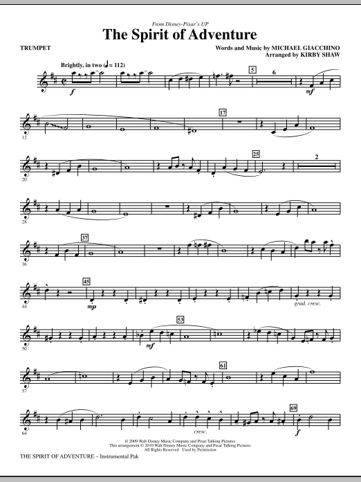 The Spirit Of Adventure (complete set of parts) sheet music for orchestra/band (chamber ensemble) by Michael Giacchino and Kirby Shaw. Score Image Preview.