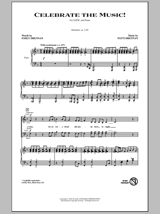 Celebrate The Music! Sheet Music
