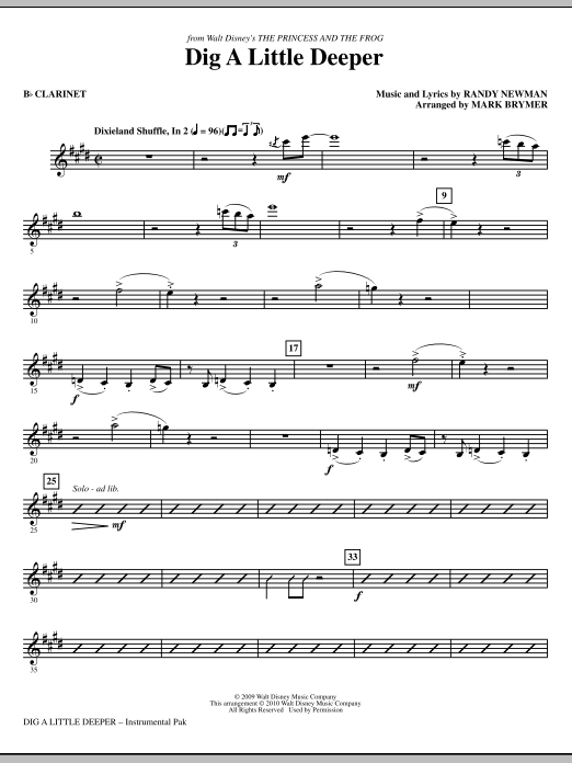 Dig A Little Deeper (from The Princess And The Frog) (complete set of parts) sheet music for orchestra/band (Rhythm) by Randy Newman and Mark Brymer. Score Image Preview.