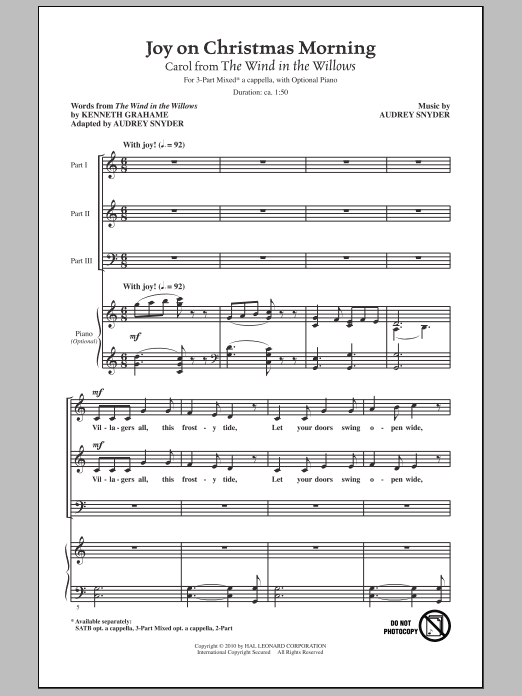 Joy On Christmas Morning (Carol from The Wind In The Willows) Sheet Music