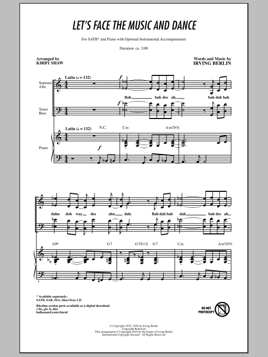 Let's Face The Music And Dance (SATB Choir)