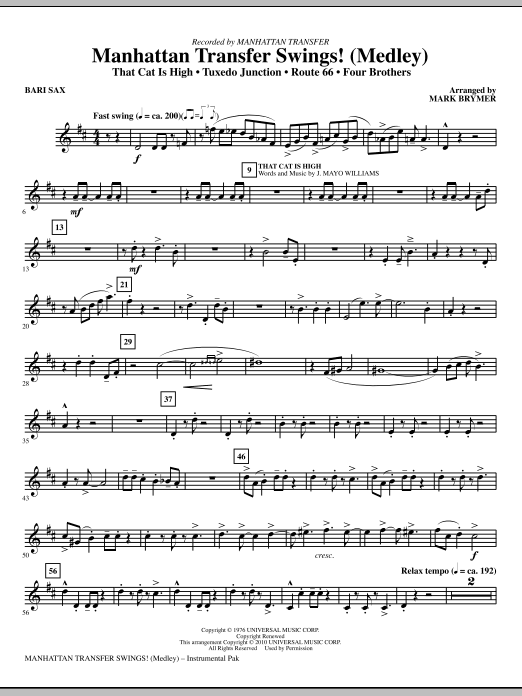 Manhattan Transfer Swings! (Medley) - Baritone Sax (Choir Instrumental Pak)