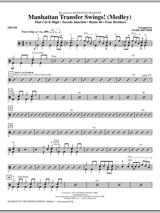 Manhattan Transfer Swings! (Medley) - Drums (Choir Instrumental Pak)