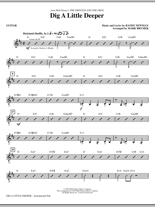 Dig A Little Deeper (from The Princess And The Frog) - Guitar (Choir Instrumental Pak)