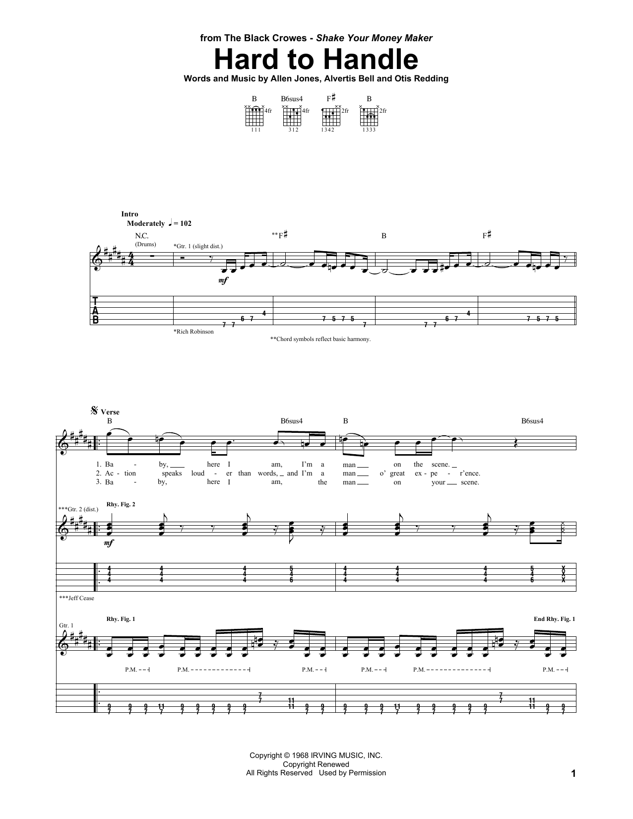 Tablature guitare Hard To Handle de The Black Crowes - Tablature Guitare