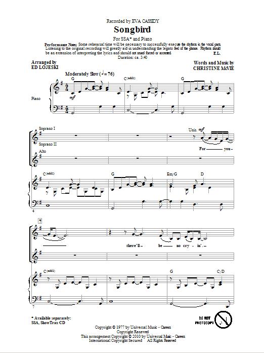 Songbird (arr. Ed Lojeski) Sheet Music