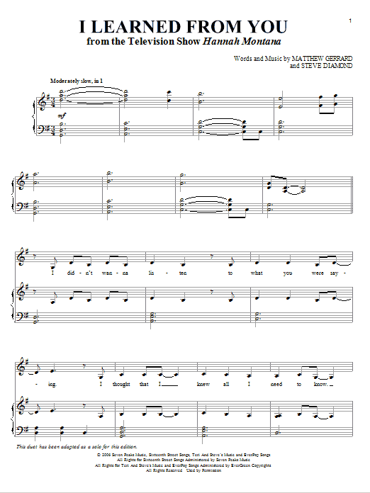 I Learned From You Sheet Music