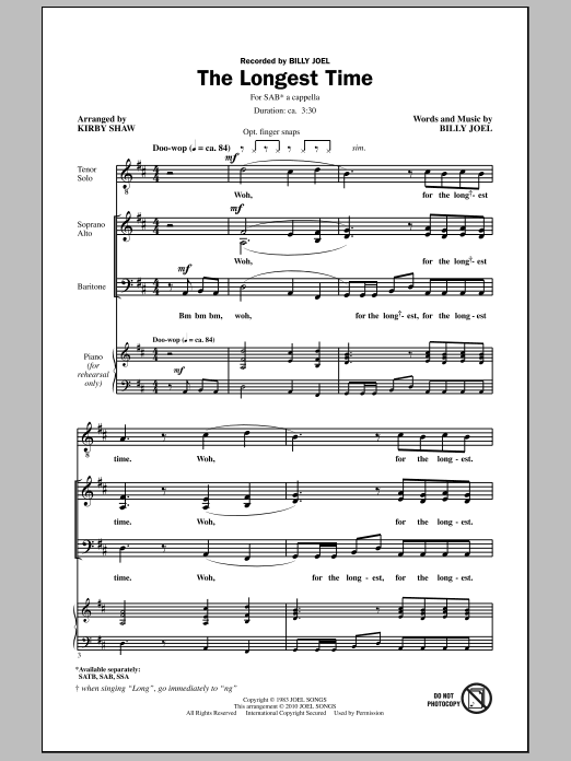 The Longest Time (SAB with Tenor Solo) Sheet Music