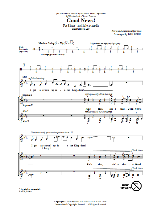 Good News! (arr. Ken Berg) Sheet Music